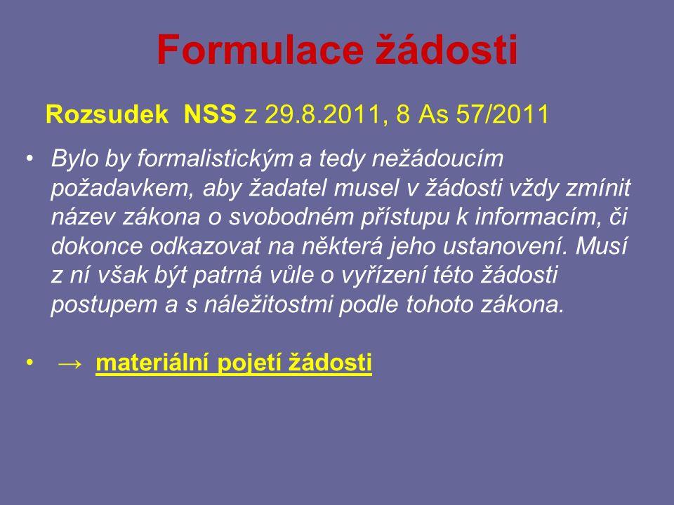 Formulace žádosti Rozsudek NSS z 29.8.2011, 8 As 57/2011