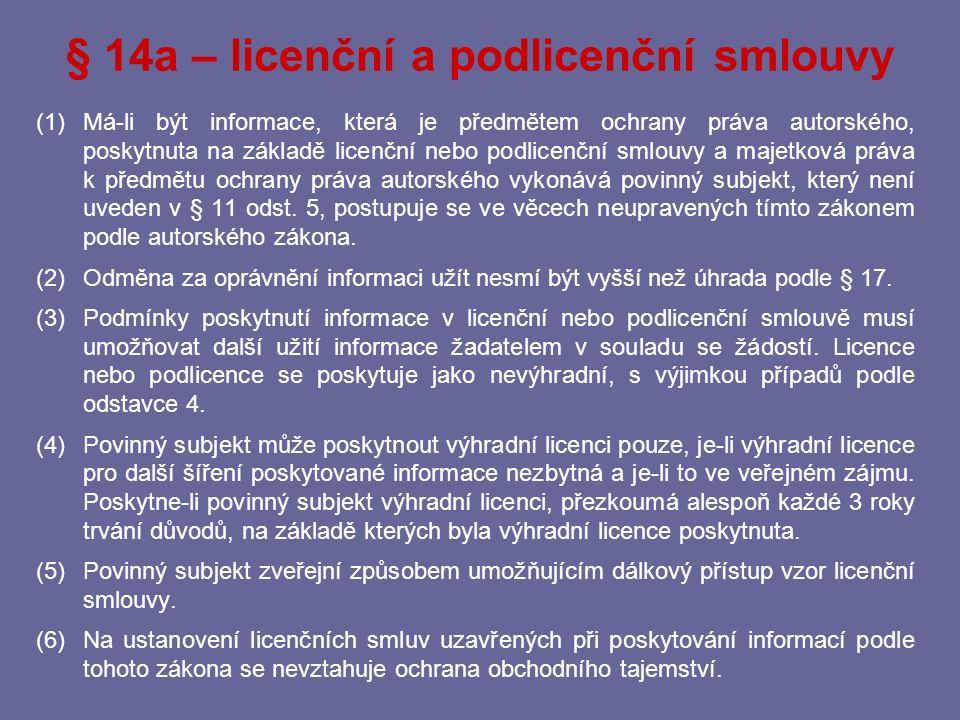 § 14a – licenční a podlicenční smlouvy