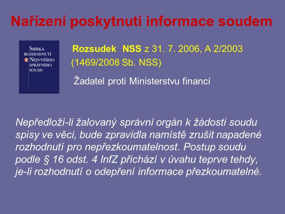 Nařízení poskytnutí informace soudem