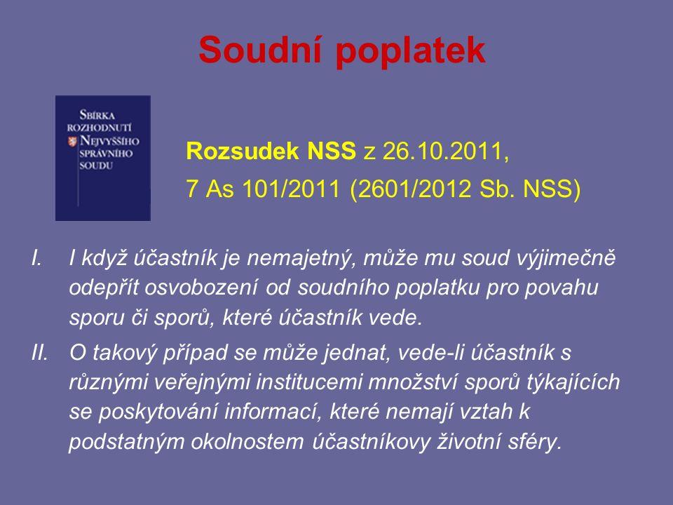 Soudní poplatek Rozsudek NSS z 26.10.2011,