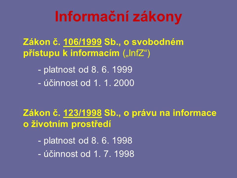 """Informační zákony Zákon č. 106/1999 Sb., o svobodném přístupu k informacím (""""InfZ ) - platnost od 8. 6. 1999."""