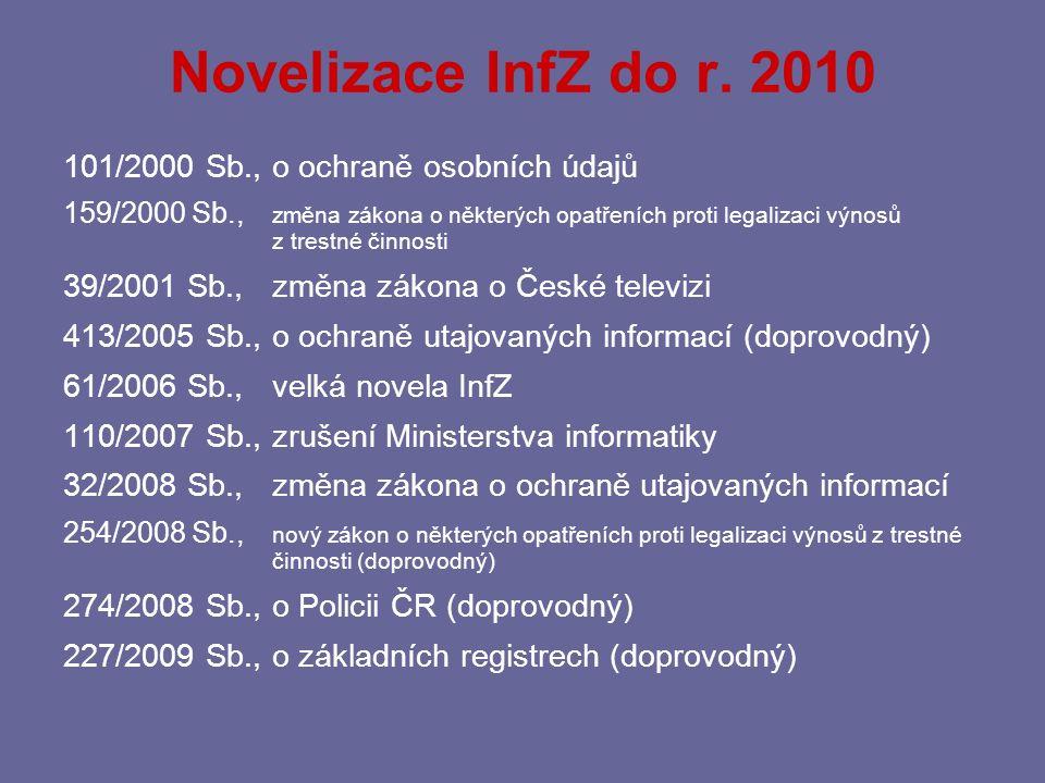 Novelizace InfZ do r. 2010 101/2000 Sb., o ochraně osobních údajů