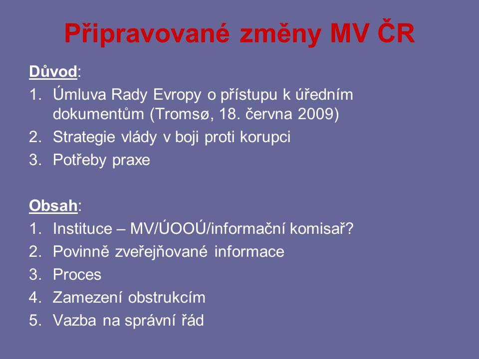 Připravované změny MV ČR