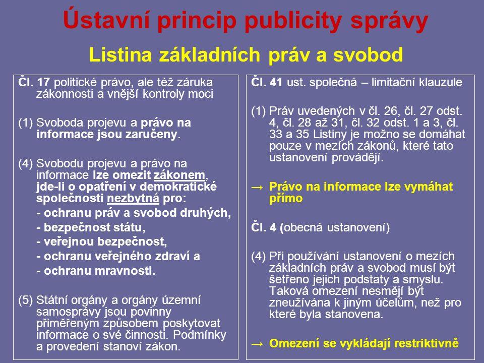 Ústavní princip publicity správy Listina základních práv a svobod