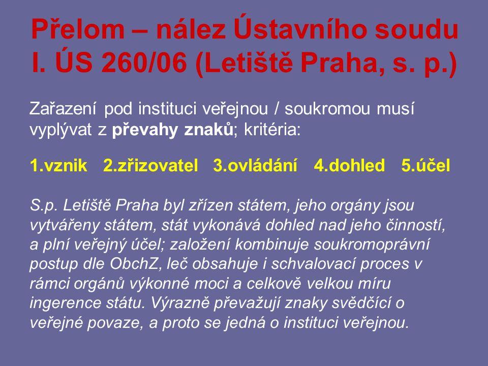 Přelom – nález Ústavního soudu I. ÚS 260/06 (Letiště Praha, s. p.)