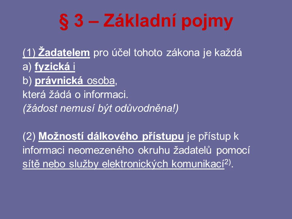 § 3 – Základní pojmy