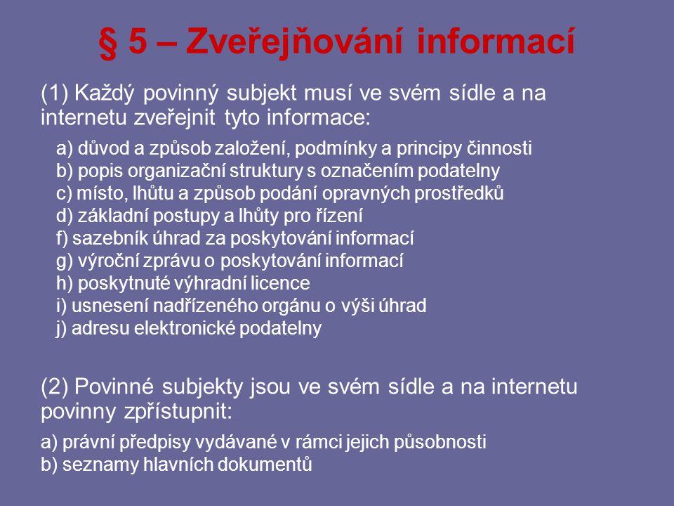 § 5 – Zveřejňování informací
