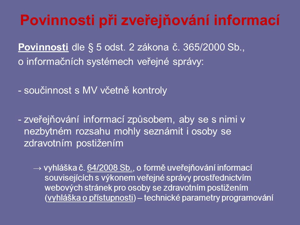 Povinnosti při zveřejňování informací