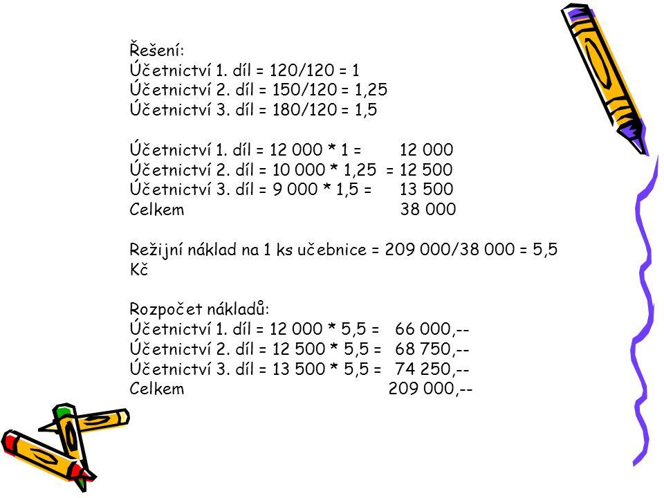 Řešení: Účetnictví 1. díl = 120/120 = 1. Účetnictví 2. díl = 150/120 = 1,25. Účetnictví 3. díl = 180/120 = 1,5.