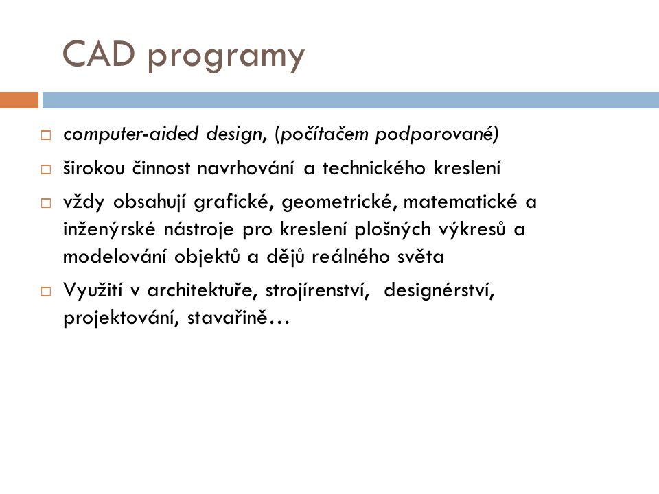 CAD programy computer-aided design, (počítačem podporované)