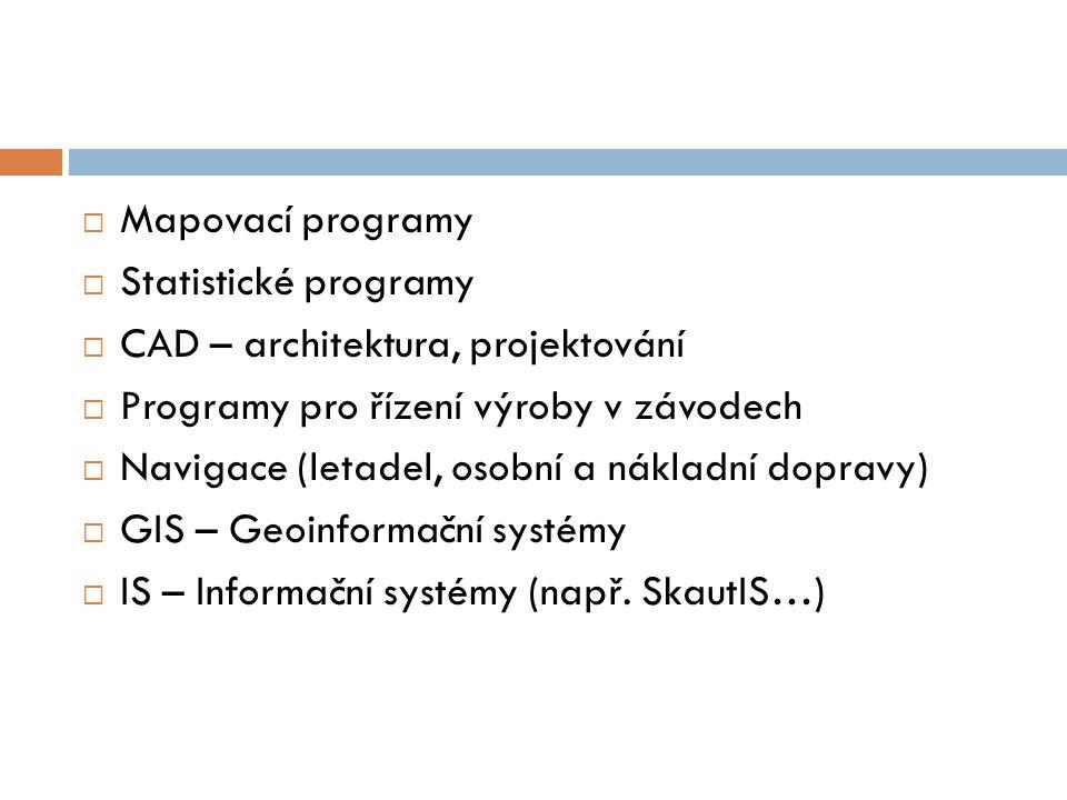 Mapovací programy Statistické programy. CAD – architektura, projektování. Programy pro řízení výroby v závodech.
