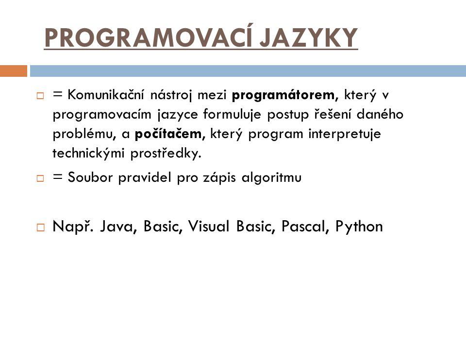 PROGRAMOVACÍ JAZYKY Např. Java, Basic, Visual Basic, Pascal, Python