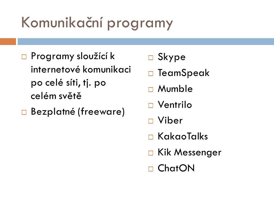Komunikační programy Programy sloužící k internetové komunikaci po celé síti, tj. po celém světě.