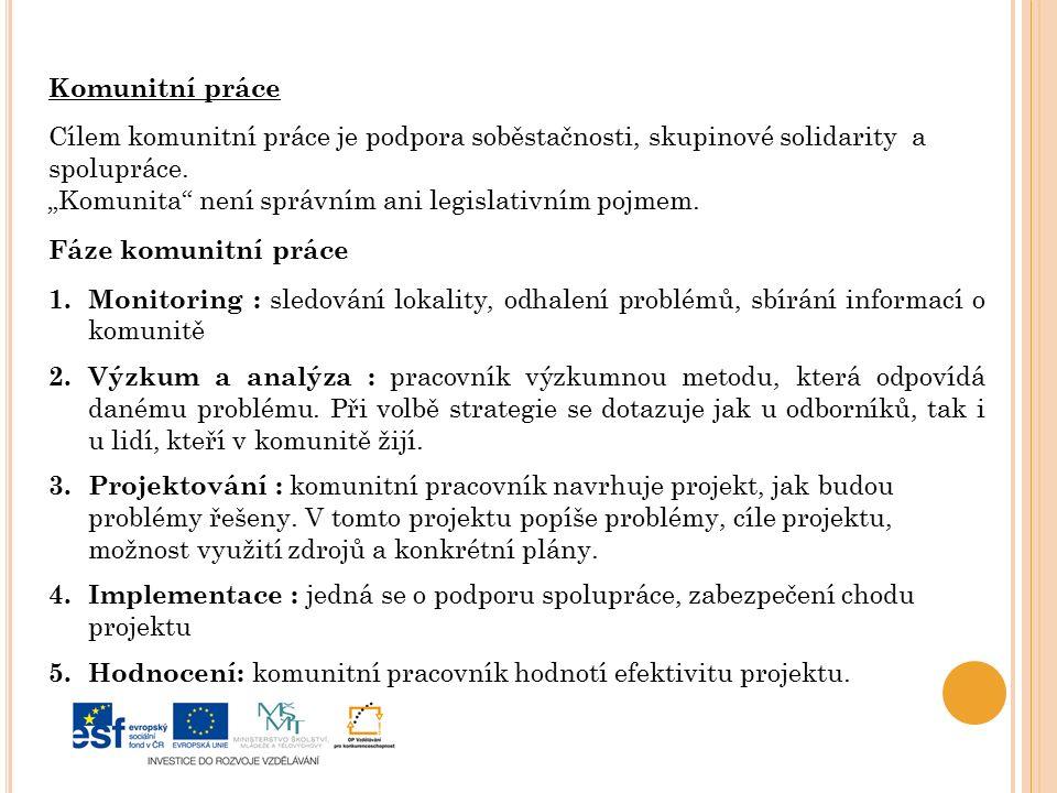 Komunitní práce Cílem komunitní práce je podpora soběstačnosti, skupinové solidarity a. spolupráce.