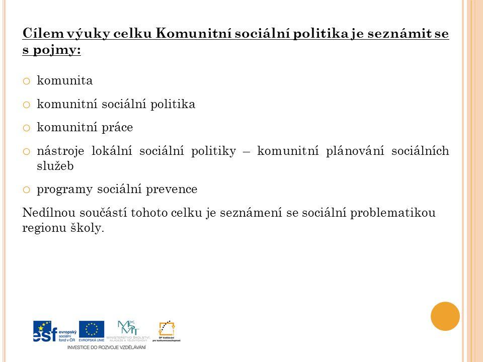Cílem výuky celku Komunitní sociální politika je seznámit se s pojmy: