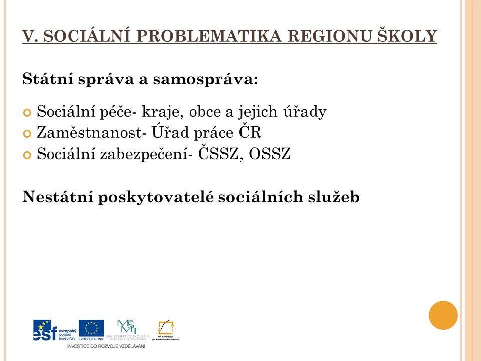 V. SOCIÁLNÍ PROBLEMATIKA REGIONU ŠKOLY