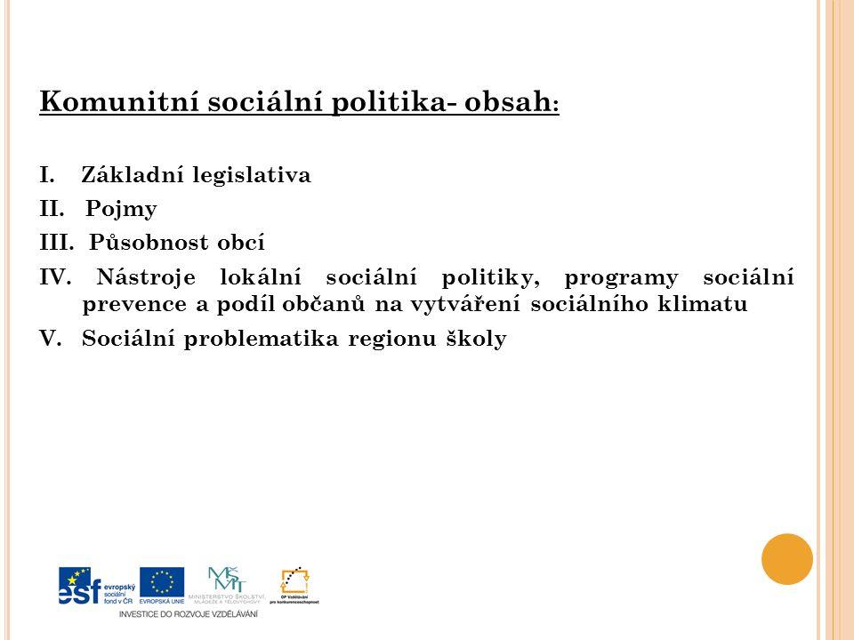 Komunitní sociální politika- obsah: