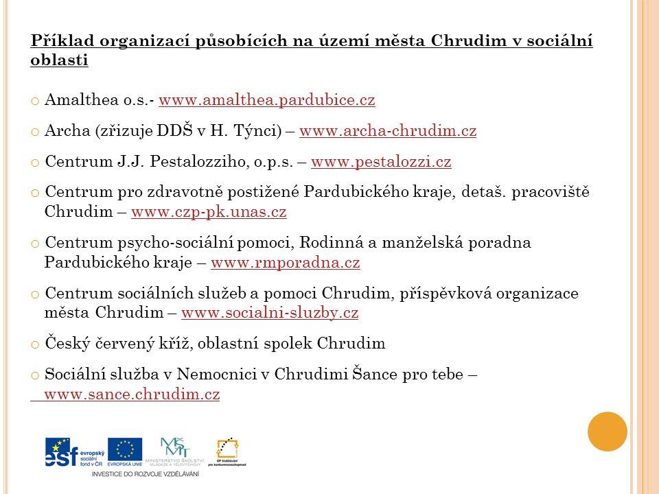 Příklad organizací působících na území města Chrudim v sociální oblasti