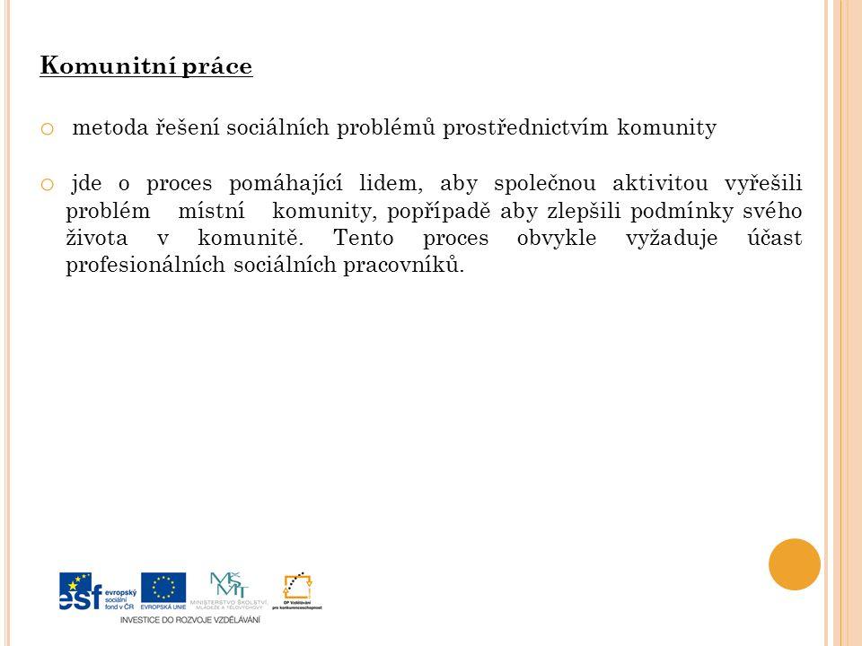 Komunitní práce metoda řešení sociálních problémů prostřednictvím komunity.