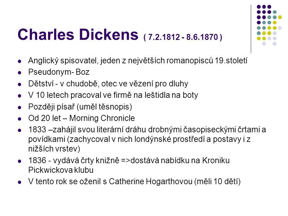 Charles Dickens ( 7.2.1812 - 8.6.1870 ) Anglický spisovatel, jeden z největších romanopisců 19.století.