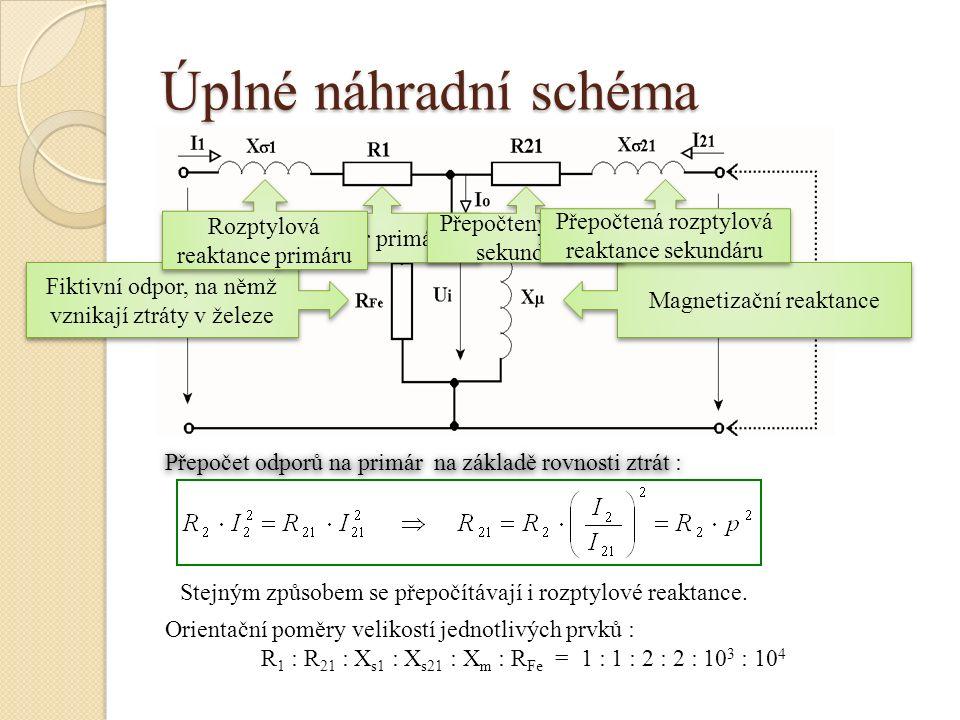 Úplné náhradní schéma Rozptylová reaktance primáru