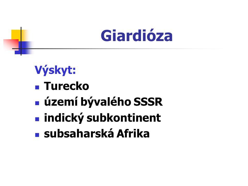 Giardióza Výskyt: Turecko území bývalého SSSR indický subkontinent