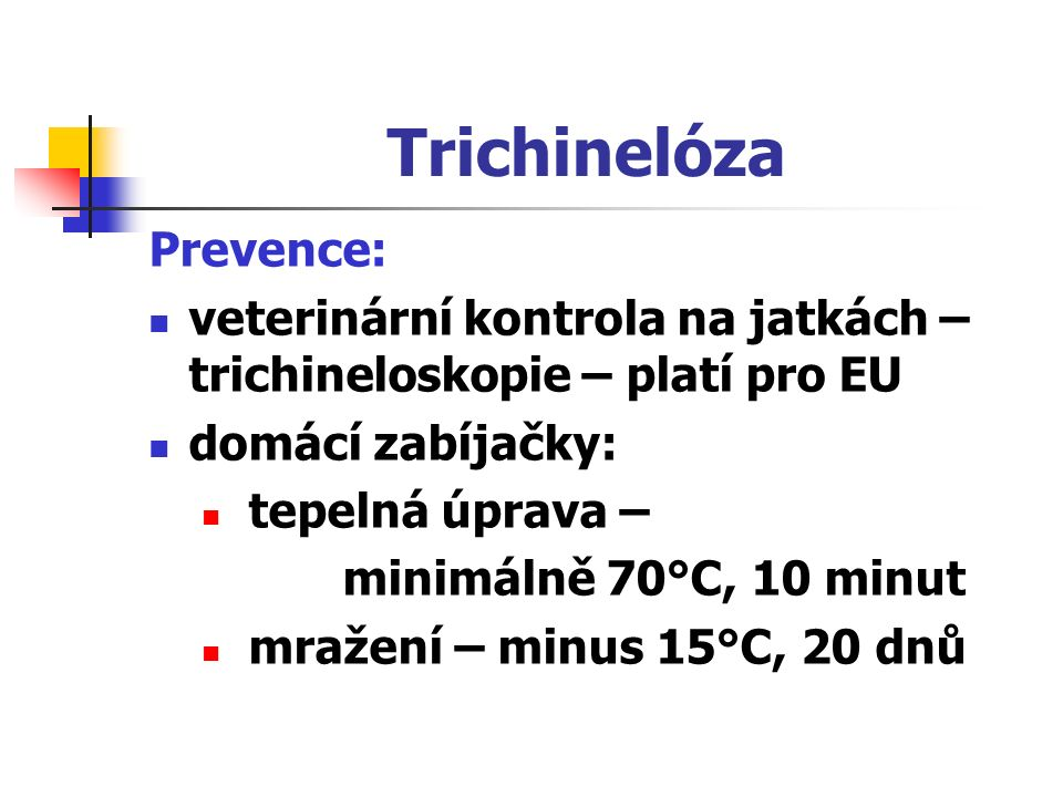 Trichinelóza Prevence: