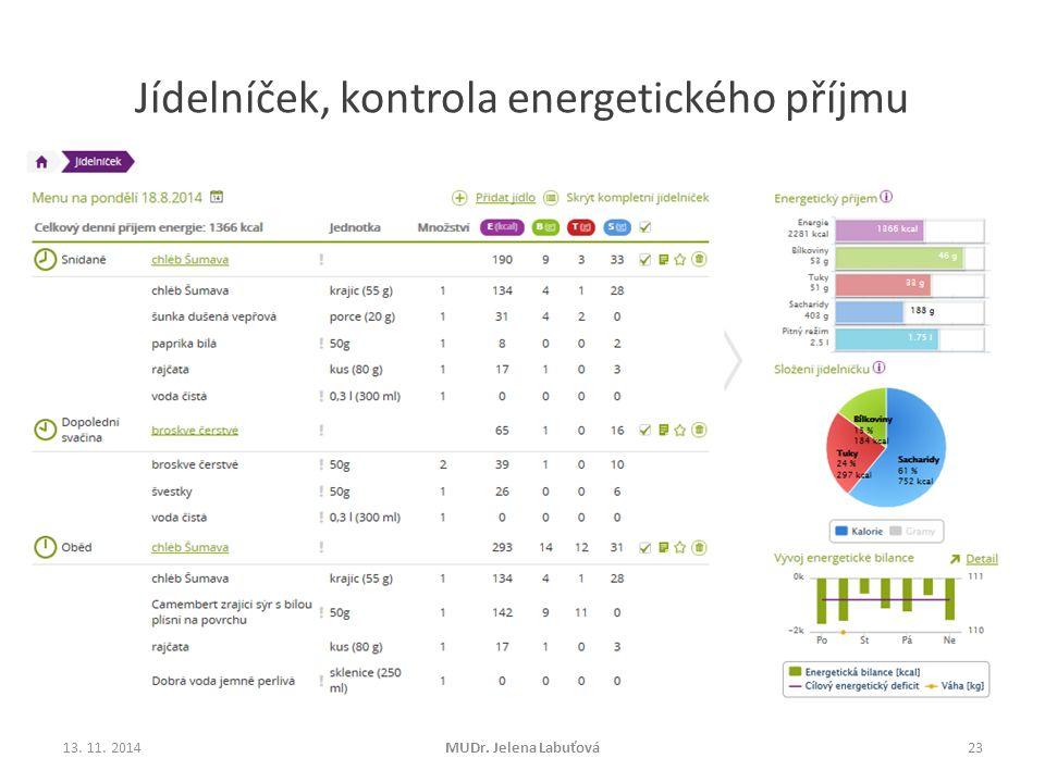 Jídelníček, kontrola energetického příjmu