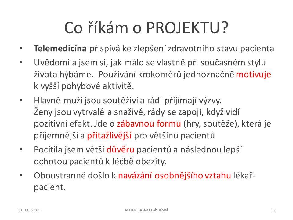 Co říkám o PROJEKTU Telemedicína přispívá ke zlepšení zdravotního stavu pacienta.