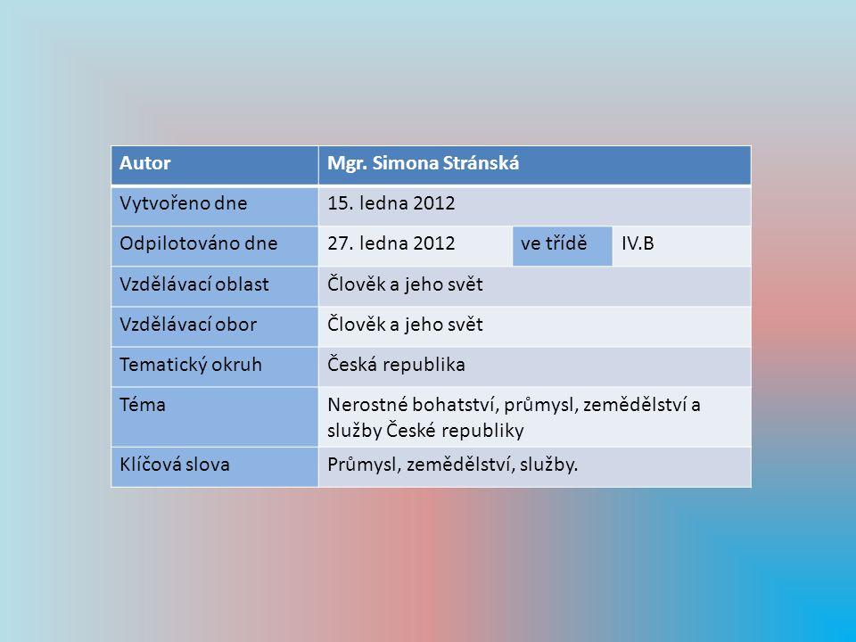 Autor Mgr. Simona Stránská. Vytvořeno dne. 15. ledna 2012. Odpilotováno dne. 27. ledna 2012. ve třídě.