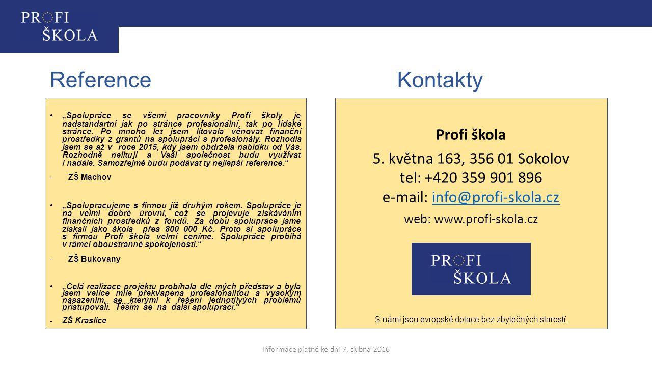 Reference Kontakty Profi škola
