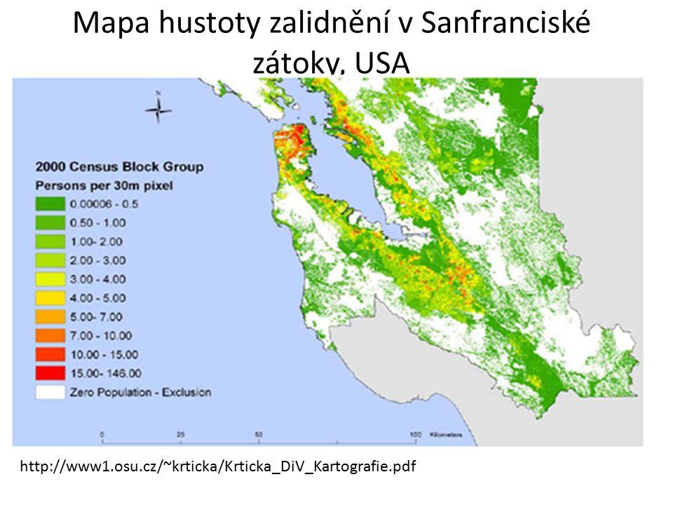 Mapa hustoty zalidnění v Sanfranciské zátoky, USA