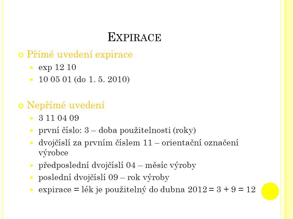 Expirace Přímé uvedení expirace Nepřímé uvedení exp 12 10
