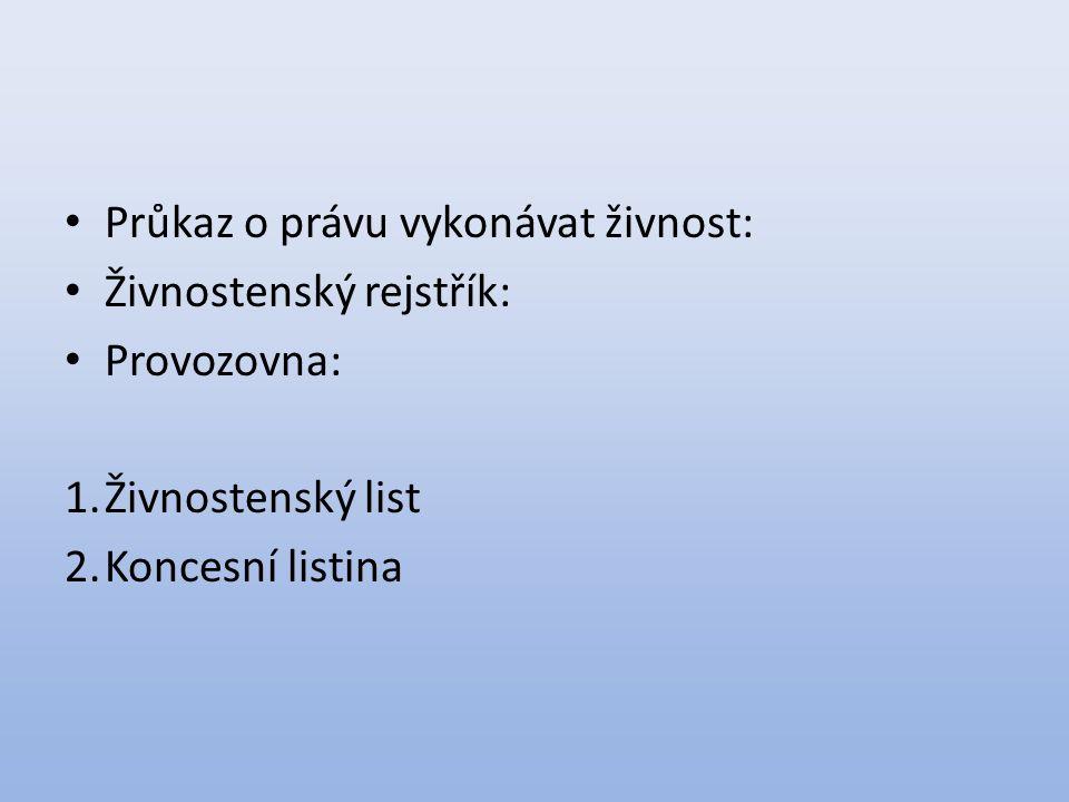 Průkaz o právu vykonávat živnost: