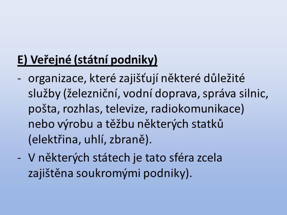 E) Veřejné (státní podniky)