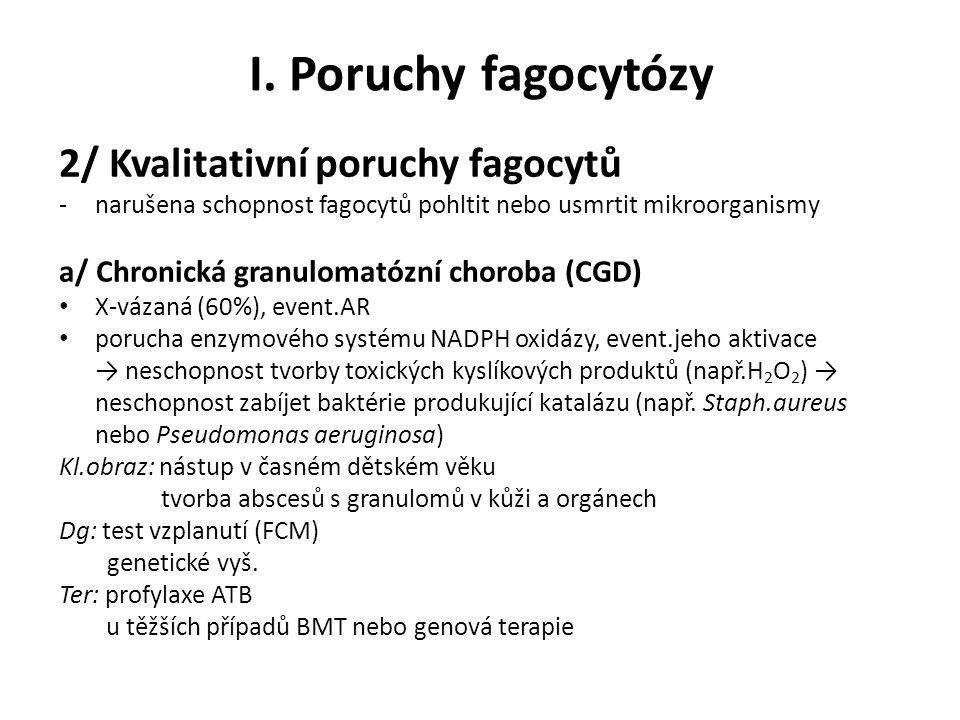 I. Poruchy fagocytózy 2/ Kvalitativní poruchy fagocytů