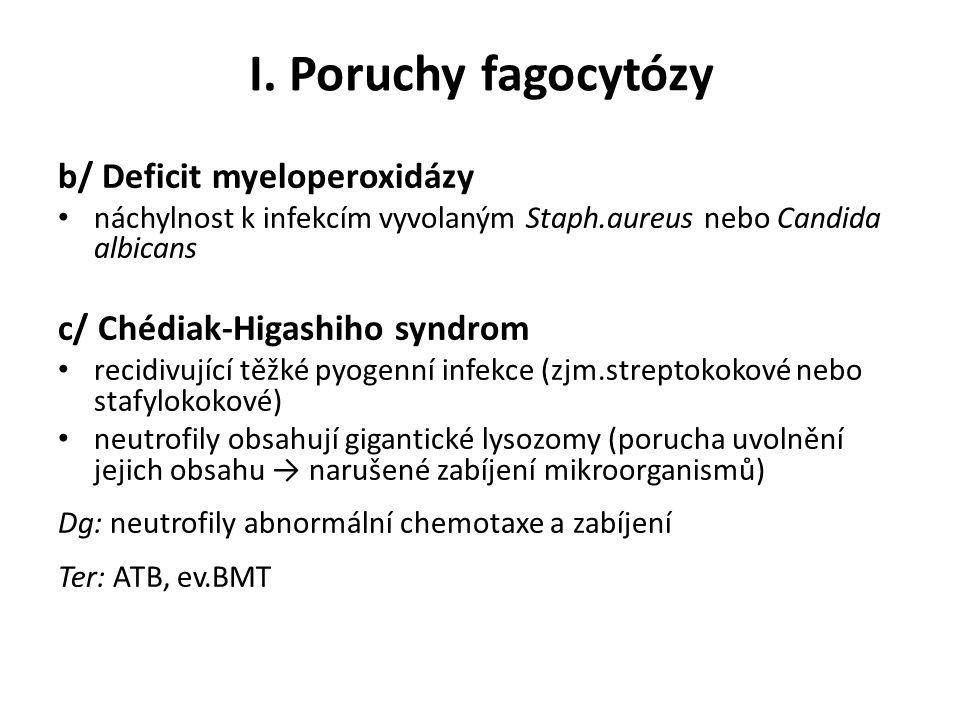 I. Poruchy fagocytózy b/ Deficit myeloperoxidázy