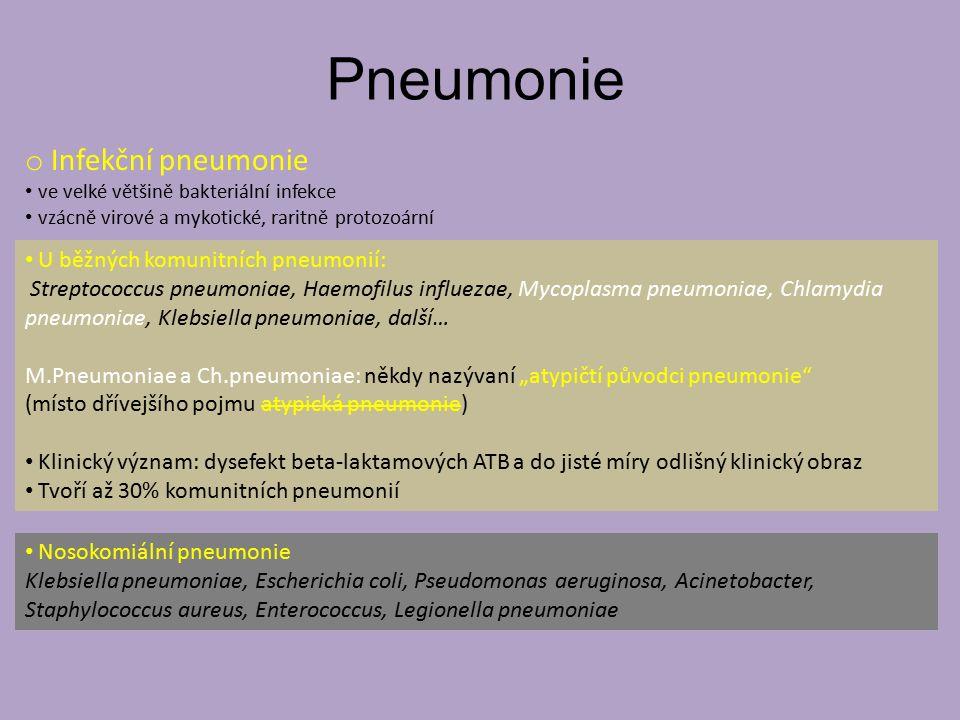 Pneumonie Infekční pneumonie U běžných komunitních pneumonií: