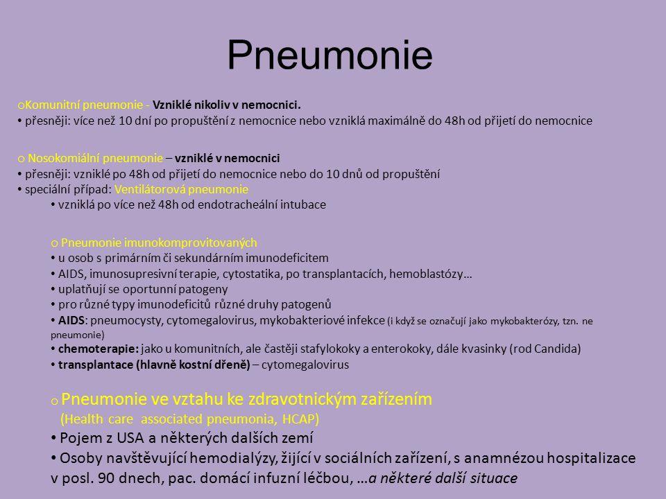 Pneumonie Pojem z USA a některých dalších zemí