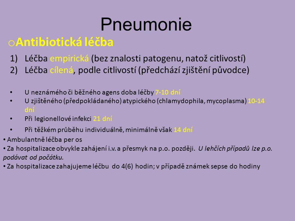 Pneumonie Antibiotická léčba