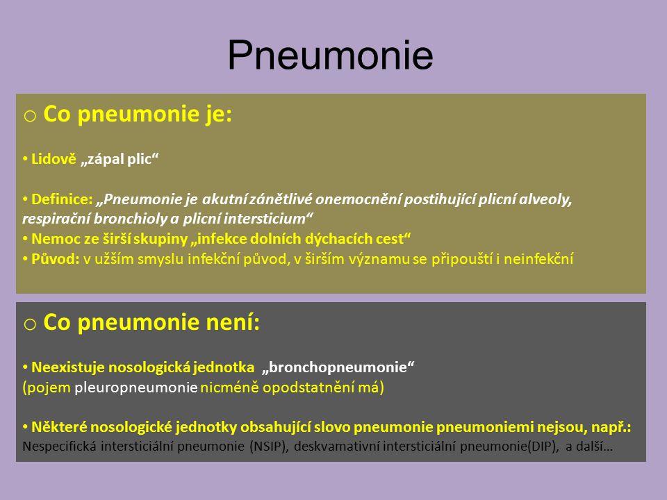 """Pneumonie Co pneumonie je: Co pneumonie není: Lidově """"zápal plic"""