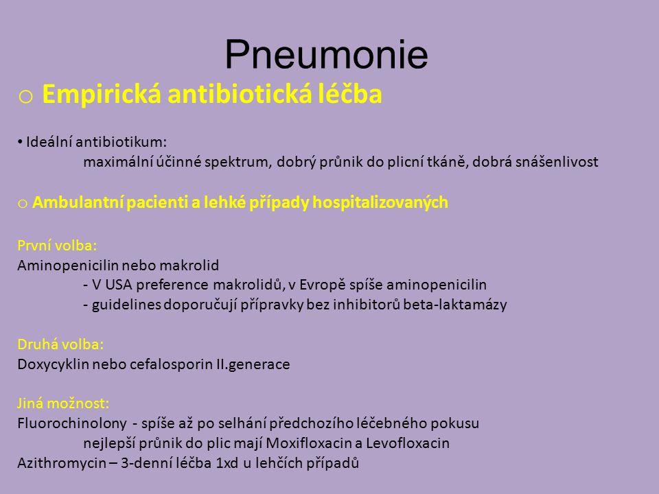 Pneumonie Empirická antibiotická léčba