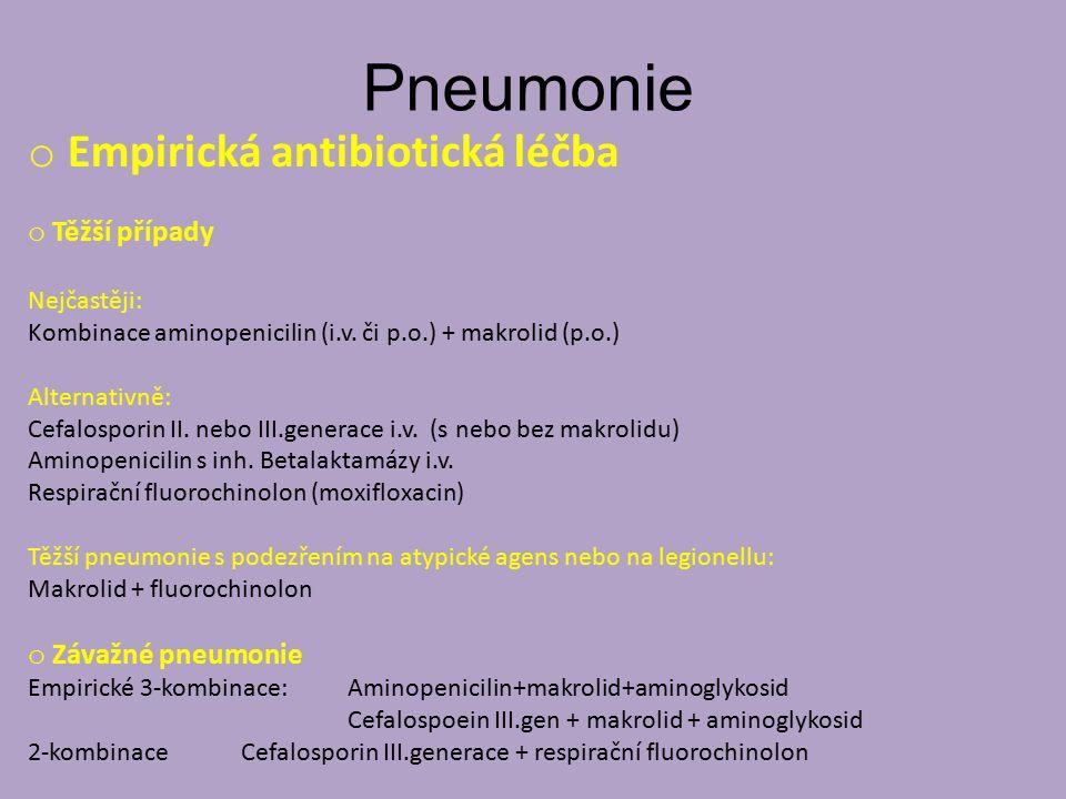 Pneumonie Empirická antibiotická léčba Těžší případy Závažné pneumonie