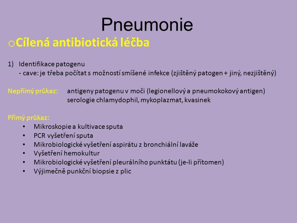 Pneumonie Cílená antibiotická léčba Identifikace patogenu