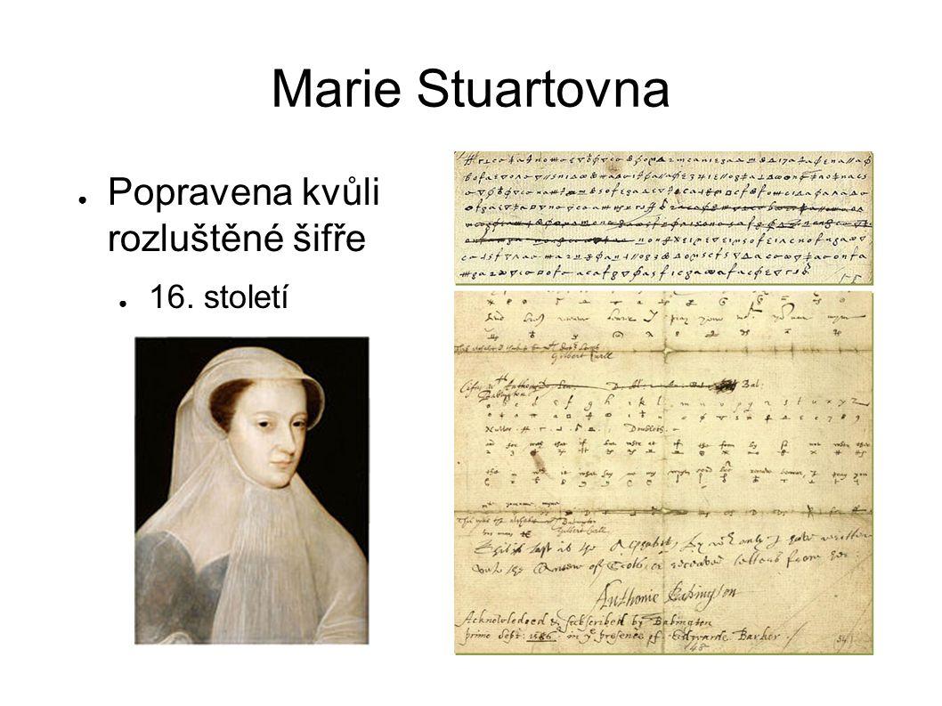 Marie Stuartovna Popravena kvůli rozluštěné šifře 16. století