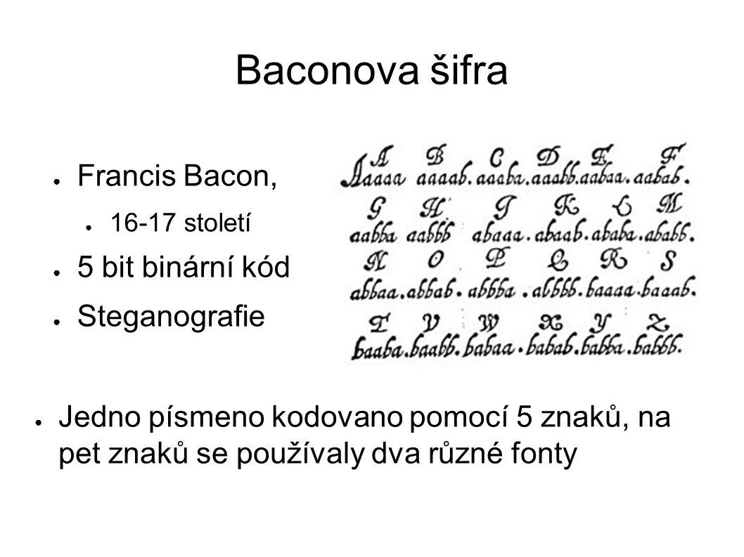 Baconova šifra Francis Bacon, 16-17 století 5 bit binární kód