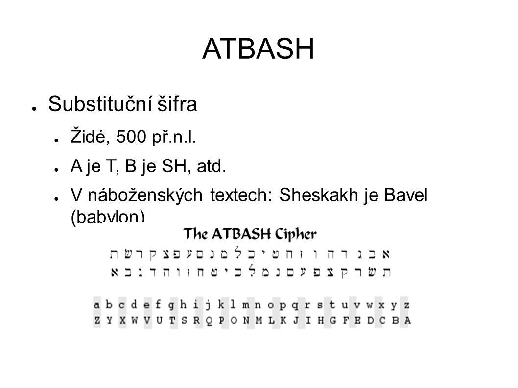 ATBASH Substituční šifra Židé, 500 př.n.l. A je T, B je SH, atd.