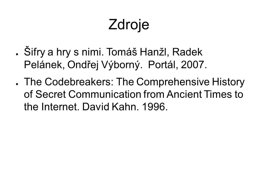 Zdroje Šifry a hry s nimi. Tomáš Hanžl, Radek Pelánek, Ondřej Výborný. Portál, 2007.
