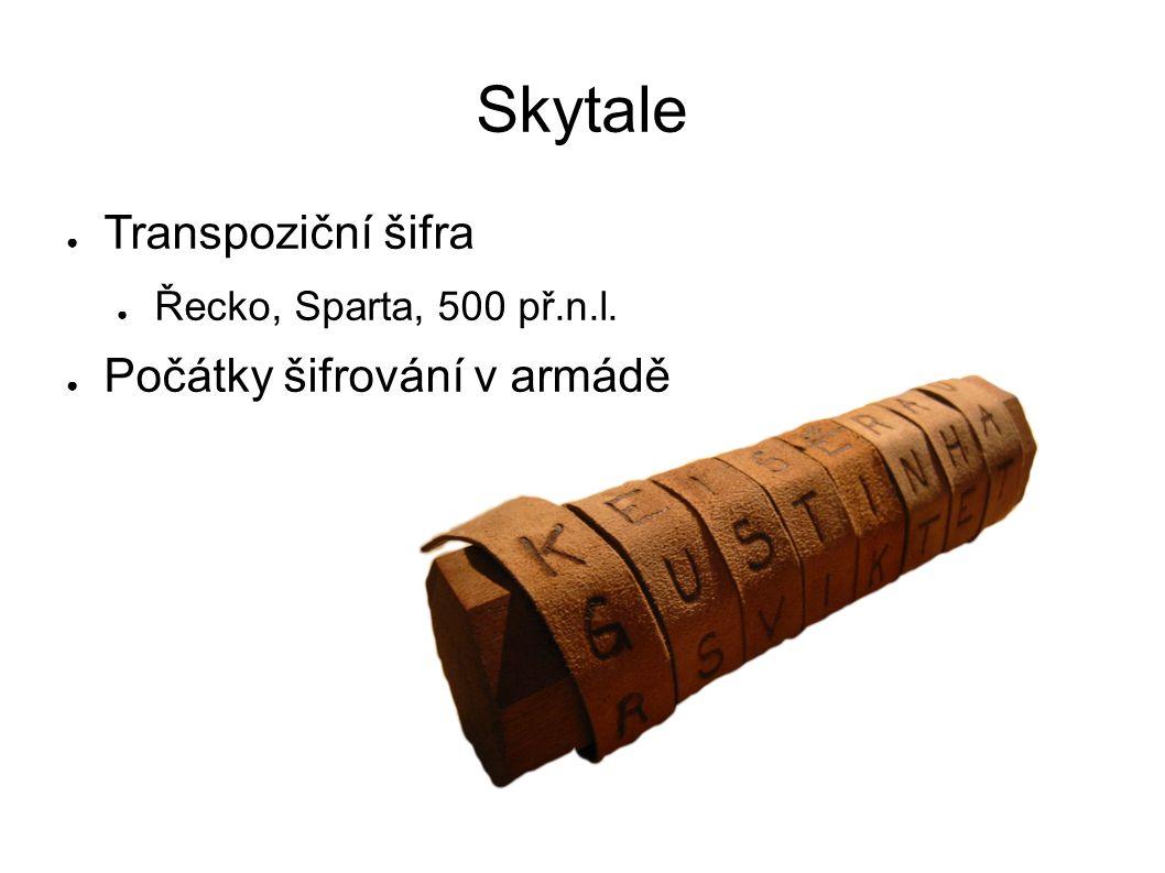 Skytale Transpoziční šifra Řecko, Sparta, 500 př.n.l.