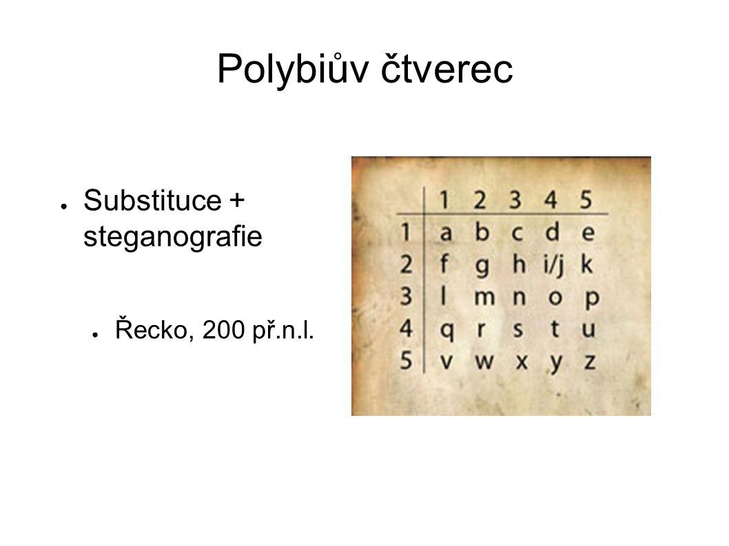Polybiův čtverec Substituce + steganografie Řecko, 200 př.n.l.